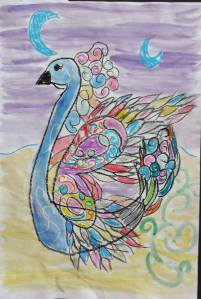 """SWAN"" Art Inspired by Dali Fourth Grade Girl Brittan Acres School"